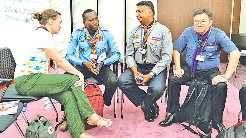 Janaprith with other world scout leaders in Azerbaijan
