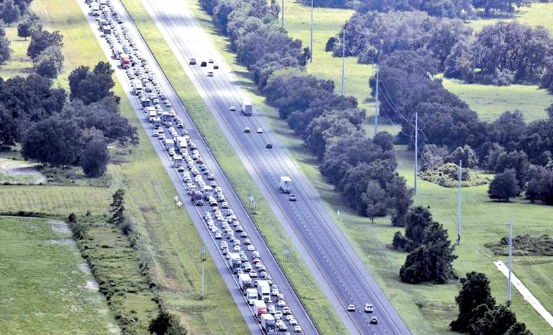Motorways in Florida were gridlocked as millions attempted to flee from Hurricane Irma (Courtesy: The Sun)