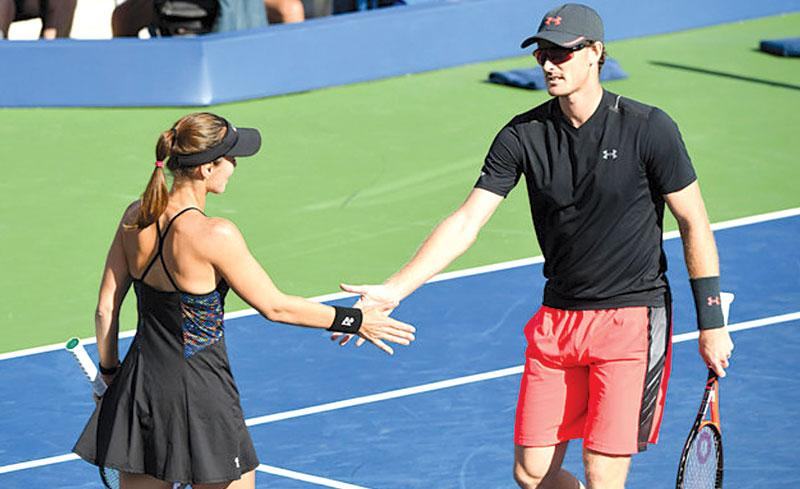 September 8, 2017 - Jamie Murray and Martina Hingis in action against CoCo Vandeweghe and Horia Tecau in a Mixed Doubles Semifinal at the 2017 US Open.