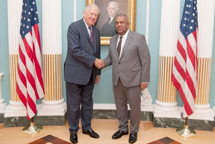 Finance Minister Mangala Samaraweera with the US Under Secretary for Political Affairs, Ambassador Thomas Shannon