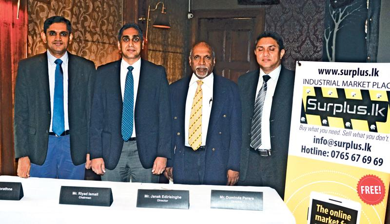 Chairman and Directors of Surplus Web Portal at the press conference. From left – Director Nalin Manorathne, Chairman Riyad Ismail, and Directors Janak Edirisinghe and Duminda Perera. Picture by Vipula Amerasinghe