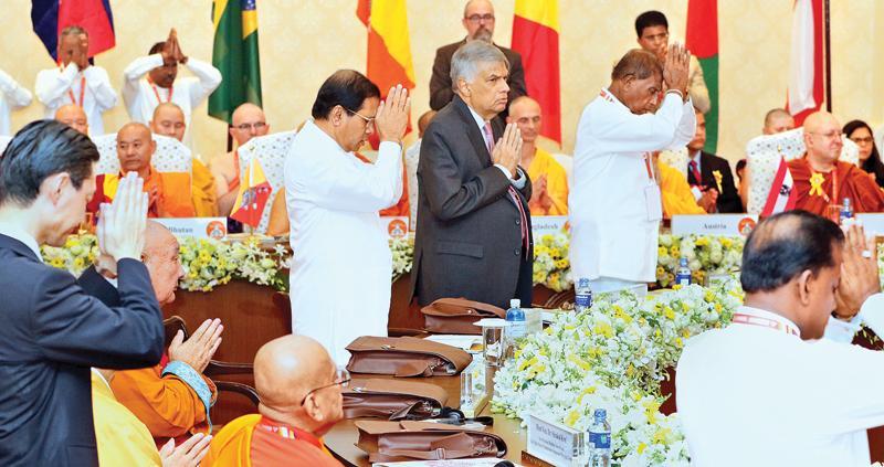 President Maithripala Sirisena and Prime Minister Ranil Wickremesinghe  at the Buddhist Summit                                                                                                 Pic: Saman Sri Wedage