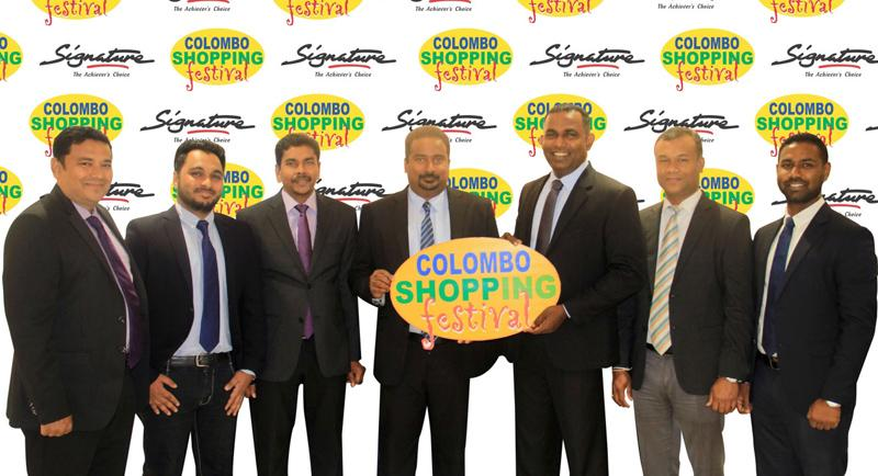 From left: Hameedias Retails Sales Manager Rameez Mohamed, Human Capacity Development Manager Hana Saleemdeen, Sales Manager M.T.M. Munas, General Manager of Signature, Indika Perera, Aitken Spence Conventions and Exhibitions, Assistant Vice President Anil Hapugoda, Assistant Manager Madhawa Wijeratne and Senior Operational Head, Roshan Krishnanalan at the signing ceremony.