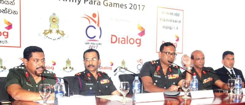 Chairman of the Army Para Games Committee Major General W.B.D.P. Fernando  (third from left) addressing the Media Also in the picture are from left  Secretary Army Para Game Com. Col. M.A.R. Gunesekera, Director/Media  Spokesman Ministry of Defense Roshan Seneviratne,Vice Chairman Army Para  Games Com. H.R. Wickramasinghe and Paralympic 2016 Bronze medalist seargent  H.M.D.P. Herath.  Picture by Chaminda Niroshan