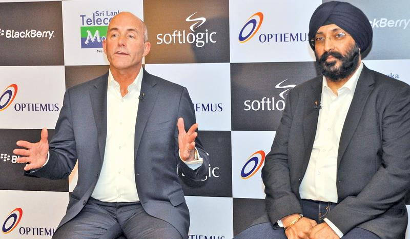 Senior Vice President, General Manager Mobility Solutions at BlackBerry Alex Thurber (on left) and Optiemus Infracom Executive Director Hardip  Singh brief journalists at the launch. Pic: Thushara Fernando