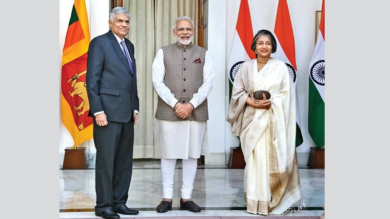 Prime Minister Ranil Wickremesinghe called on his Indian counterpart Narendra Modi at the Hyderabad House, New Delhi. Prof. Maithree Wickremesinghe was also present.