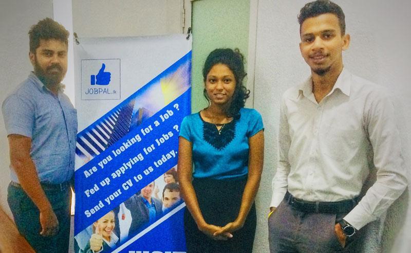 Jobpal.lk Business Development Executives Chamara Sanjaya and Dennam Gurugamage with Programme Manager Reshali Balasubramaniam.