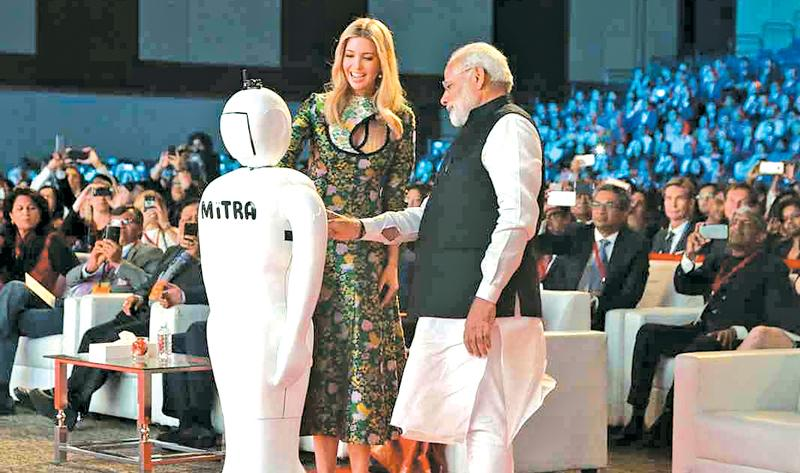 Indian Prime Minister Narendra Modi and Ivanka Trump at the GES opening ceremony.