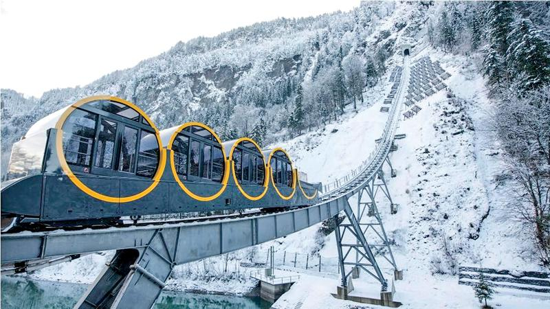 The Schwyz-Stoos funicular in the Alpine resort of Stoos.  Pic: Urs Flueeler/EPA