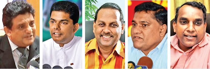 Crusaders for clean politicians: M.M.Mohamed, Gayantha Karunatilleke, Mahinda Amaraweera, Vijitha Herath, and Rohana Hettiarachchi