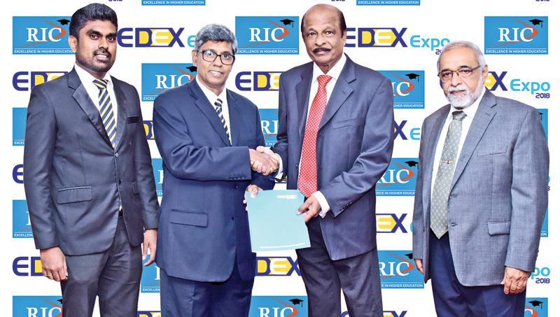 From left: Nishan Jayalath, Director -Sponsorships EDEX Expo 2017, Mahinda Galagedera, Chairman EDEX Expo 2017,  G.T. Bandara, Chairman, RIC, Prof. Sarath Amunugama, President, RIC.