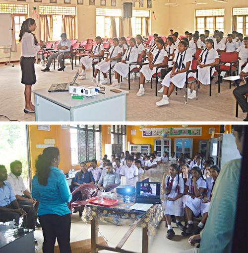 Students of two schools in the pilot program being trained by university students