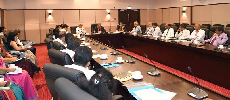 Minister Mangala Samaraweera addressing bank heads