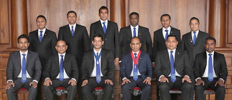 Seated from left - Sumudu Thanthirigoda (Secretary), Amal Fernando (Vice Chairman),  Brian Selvanayagam (Chairman), Asanga Ranasinghe (President), Sanjika Perera (Immediate Past Chair) and Sujith Silva (Treasurer).  Standing: Roshan Kaluarachchi (Head of Corporate Communications), Kanchana Karunagama (Head of Market Interest Groups), Rajiv David (Head of Education),Tharmalingam Dinesh (Head of Corporate Trainings), Charaka Perera (Head of Membership Development) and Muditha Hewawanitunga (Head of Networking