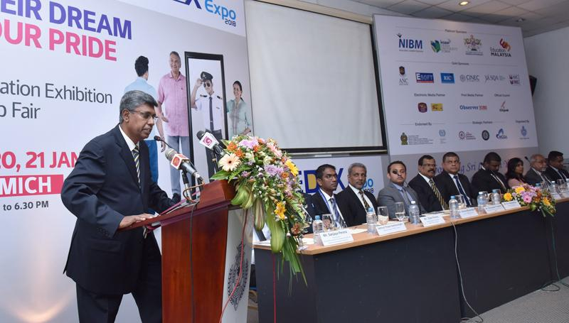EDEX Chairman Mahinda Galagedara addressing the media.
