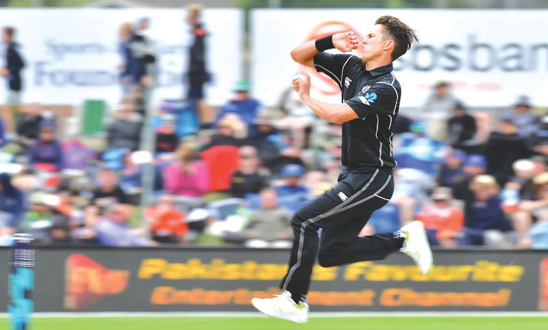 New Zealand fast bowler Trent Boult bowls during the third one-day international against Pakistan at Dunedin on Saturday. – AFP