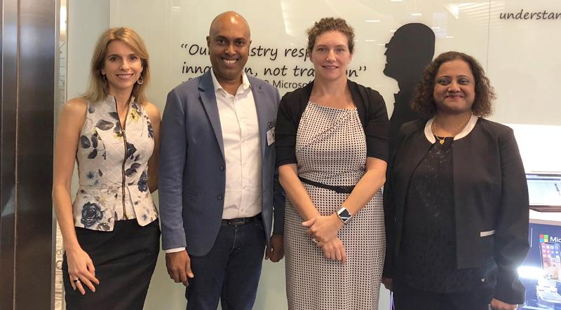 From left: President Asia Pacific Microsoft, Andrea Della Mattea, CEO,  Microimage, Harsha Purasinghe, General Manager, South East Asia New  Markets, Microsoft, Michelle Simmons, APAC Area Lead Cloud ISV Microsoft, Pratima Amonkar.