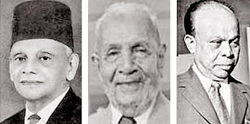 Sir Razik Fareed , Dr. M.C.M. Kaleel and Dr. Badi-ud-din Mahmud