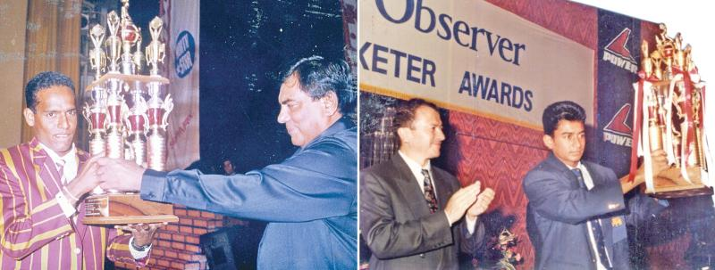 Past winners of the Observer Schoolboy Cricketer- Thilan Samaraweera 1994 - 95 and Nimesh Perera 1996