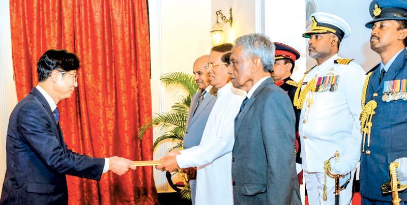 Korean Ambassador presenting his credentials to President Maithripala Sirisena at President's House, Colombo