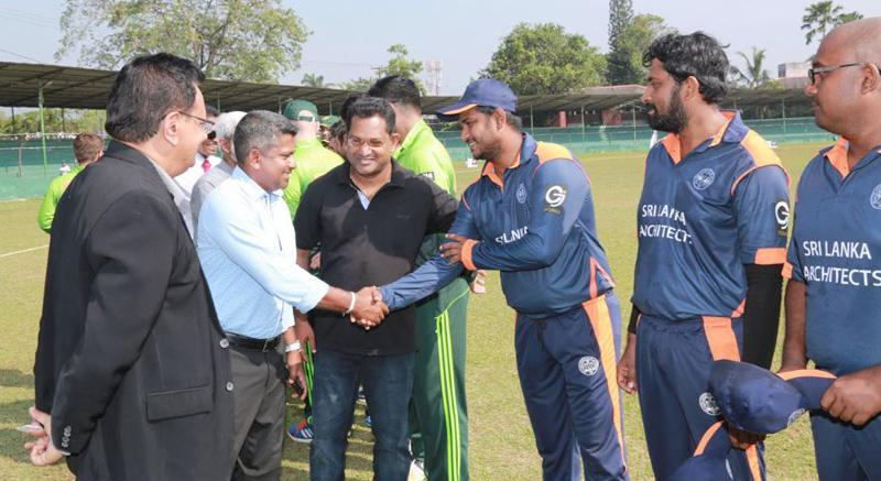 Rangana Herath (Sri Lankan left-arm spinner) being introduced to the teams by Arct. D.H. Wijewardene and Arct. Damith Premathilake – Chairman of SLIA Sports Committee