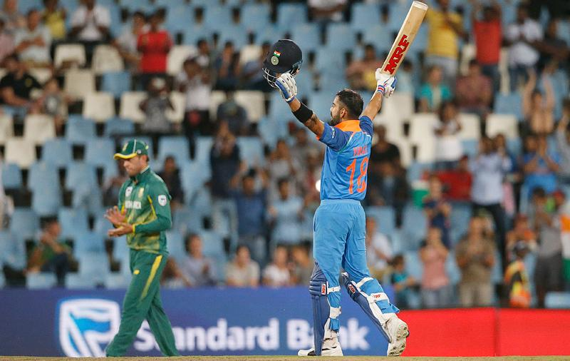 Indian captain Virat Kohli celebrates his century in the sixth ODI against South Africa played at the Centurion on Friday. – AFP