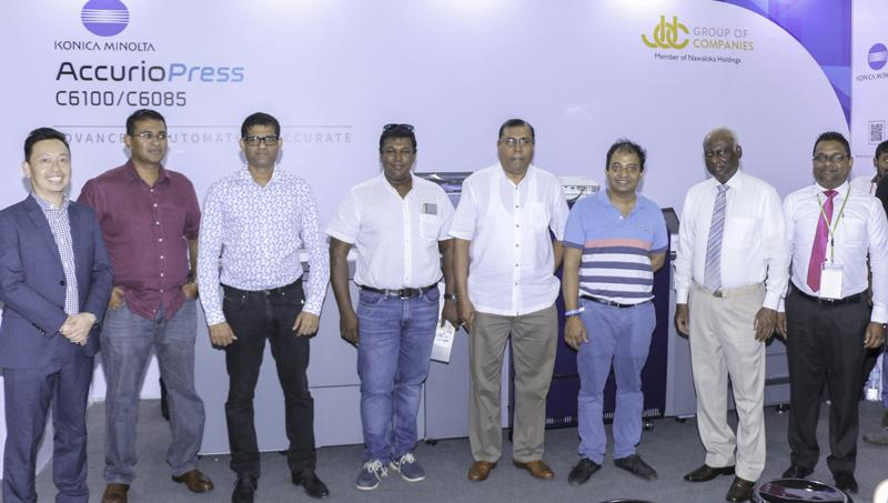 The first five customers of Konica Accurio press C6100/C6085 with JDC and Konica officials: From left: Francis  Chua - Country Sales Manager, Konica Minolta Business Solution Asia; Rohana Navaratne – Assistant Vice President, Aitken Spence Printing and Packaging; Niroon Buddhasiri – Managing Director, LeafD Pvt Ltd; Dinesh Rajawasan, Chairman, ANIM8 Pvt Ltd; Prasanna Karunathilake – Managing Director, Aitken Spence Printing and Packaging; Dhammika Siriwardena – Managing Director,Design Logics Pvt Ltd; Jayan