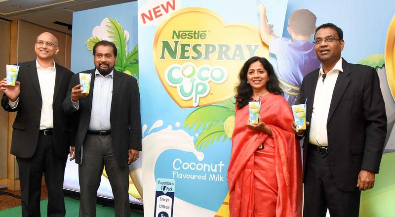 From left: Ruwan Welikala, Nestlé Vice President – Ambient Dairy; Deepal Abeywickrema, Senior Vice President – Sales; Shivani Hegde, Nestlé Managing Director; Bandula Egodage, Nestlé Vice President – Corporate Affairs and Communications at the launch.