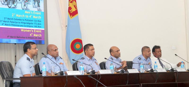 Organising Committee of the Guwan Sawariya addressing the media men at the Air Force Headquarters Auditorium from left, N. Karunaratne President Cycling Federation, Air  Commodore L.M.S.K. Leelaratne, Air Vice Marshal H.M.S.K.B. Kotakadeniya, Secretary SLAF Cycling Com., Air Vice Marshal S.K. Pathirana, Chairman Organizing Com., Air Mommodore V.P. Balasooriya, Secretary Organizing Com., group Captain M.D.A.G. Seneviratne Director Media.