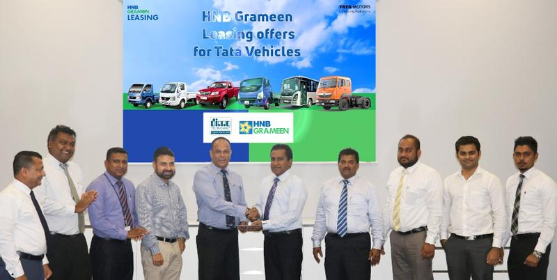 From left: Anura Wijesinghe – Deputy General Manager – Tata Passenger Car Sales, DIMO, Gihan Fernando – General Manager – DIMO Agri Machinery Division, Sampath Kumarasinghe – Deputy General Manager – Tata Commercial Vehicle Sales, DIMO, Madhu Singh – Country Manager – Tata Motors Ltd., Vijitha Bandara – Director – DIMO, R. M. P. Dayawansa – DGM, SME and Leasing, HNB Grameen Finance Ltd, A. H. M. Aziz – Chief Manager – CL & BD, HNB Grameen Finance Ltd., Rangana Shamil – Manager - Leasing, HNB Grameen Finance