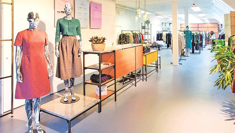 Inside Lena, Amsterdam's fashion library where members are loaned clothes. Photograph: Bo van Veen