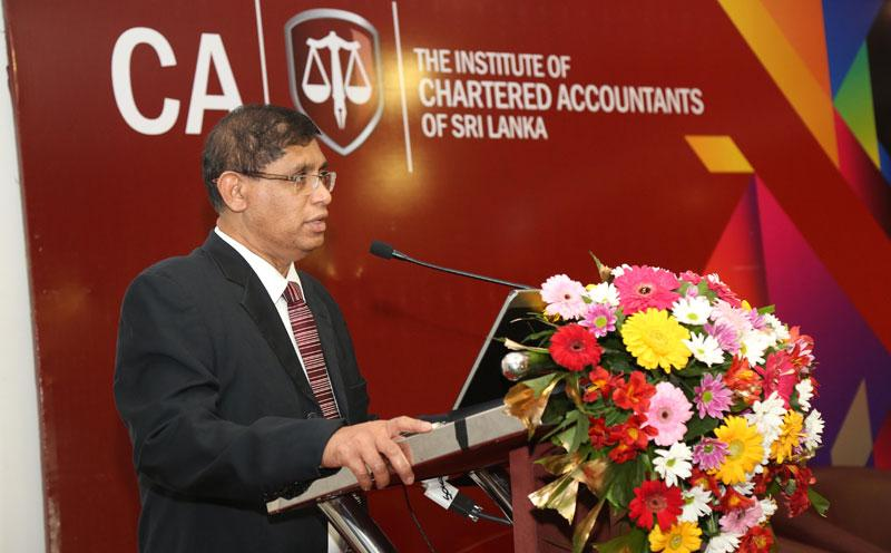 CA Sri Lanka President Jagath Perera addressing the training partners.