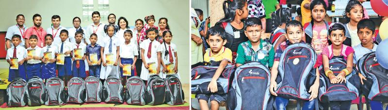 Children of  employees of Brandix factories in Polonnaruwa and Welisara at the presentation of stationery and other essentials for the new school year under the Brandix 'Ran Daru Thilina' initiative.