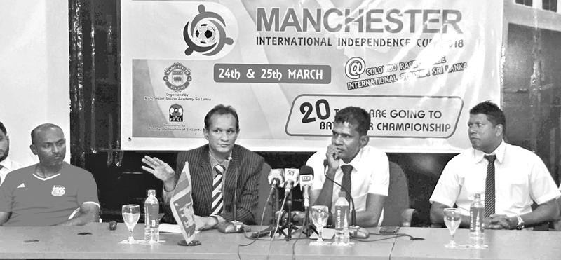 Muheed Jeeran, Director of International Affairs and Advisor to Manchester  Soccer Academy (second from left) briefing the media. Also in the picture  are from left Ahamed Nimal, Technical Director of Hulumale Sports School Maldives, Augustine George, Founder President Manchester Soccer Academy and Anton Wambeck, Head Coach of MSA and former national player.