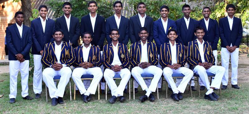 Royal College squad: Seated from left: Thevindu Senaratne, Yuvin Hearth, Pasindu Sooriyabandara (captain), Kavindu Madarasinghe, Manula Perera, Ahan  Wickramasinghe. Standing from left: Prashan Silva, Kavindu Pathiratne, Bhagya Dissanayake, Gayan Dissanayake, Kamil Mishara, Lahiru Madusanka,  Dimal Wijesekera, Sharala Gunathilake, Themal Bandara, Kawhan Kulasuriya