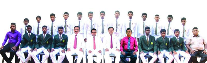 Boys Model School cricket squad seated from left Subhaga Weeratunga  (Captain) W.A. D.S. Ramyajith (Coach), Chandana Ratnayake (Asst. Coach), Sisira Guneratne (Principal), Upul Jayatissa (MIC - Cricket), A. Ashok (Asst. Coach), Yamesh Rashmika (Vice Captain) Back row from left Pansidu Hirusha, Chamitha Nimsara, Dulain Nimdiya, Kushan Mihiranga, Sameera Udayanga, Kavindu Sulochana, Tharindu Ahangama, Gamith Sandeepana, Thanuja Ahangama, Malin Anjana Bandara, Dulshan Ravishka, Duleep Dulaksha, Lahiru Prmudith