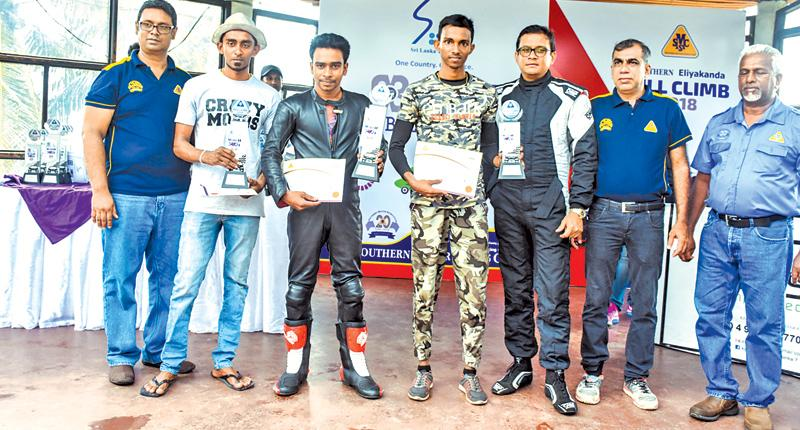 Fastest drivers and riders with their awards possing for a picture with SMSC President Ashhar Hameem and Secretary Andrew Silva