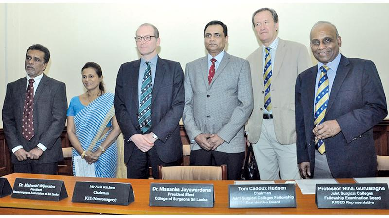 (L - R) Dr Manjula Karunaratne - CEO Asiri Group of Hospitals, Dr Maheshi Wijeratne - President, Neurosurgeons Association of Sri Lanka, Mr. Neil Kitchen – Chairman of JCIE (Neurosurgery), Dr.Nissanka Jayawardena – President Elect, College of Surgeons, Sri Lanka, Mr Tom Cadoux-Hudson - Chairman, Joint Surgical Colleges Fellowship Examination Board, Professor Nihal Gurusinghe - Joint Surgical Colleges Fellowship Examination Board, RCSED Representative.