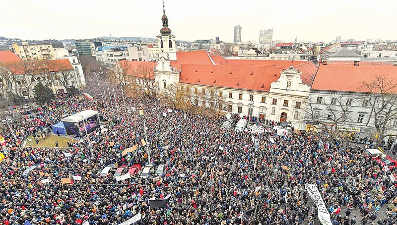 Slovak National Uprising Square on Friday. Police say Jan Kuciak's death was 'most likely' connected to his work.  Pic: Joe Klamar/AFP/Getty Images