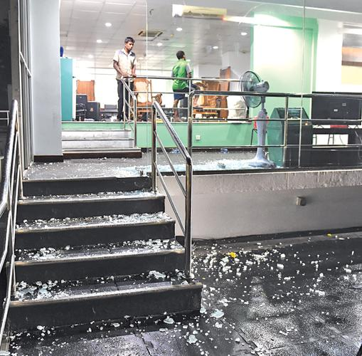 The damage done in the Bangladesh dressing room after the match on Friday. – AFP