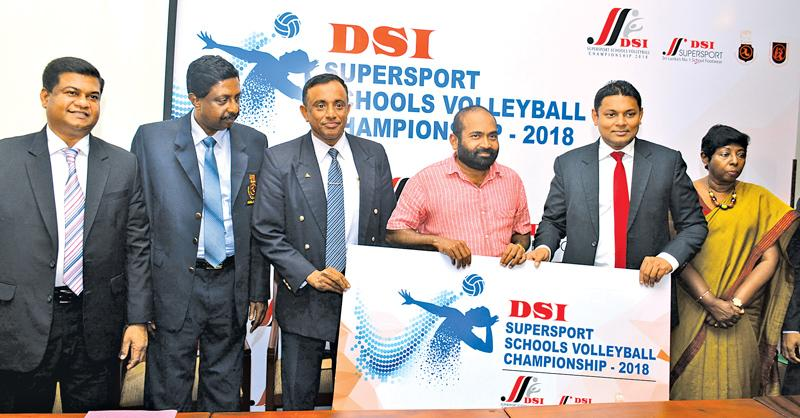 Managing Director, Thusitha Rajapaksa (fourth from right) hands over the sponsorship for the DSI Supersport chools Volleyball Tournament to Minister and President of SLVBF Ranjith Siyabalapitiya. Also in the picture are (from left) VP SLVBF Kanchana Jayaratne, Secretary SLVBF A.S. Nalaka, Director Education Ministry Sports Manjula Kariyawasam, Director DSI Kaushala Perera and Senior Manager DSI Upendra Genewardena. Pic: Ranjith Asanka