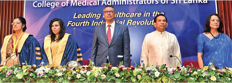 WHO Director General Dr. Tedros Adhanom Ghebreyesus with Minister Rajitha Senaratne and Dr. Sujatha Senaratne