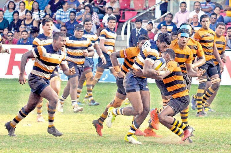 Peterite Rukshan Madushanka slams through the DS Senanayake defence