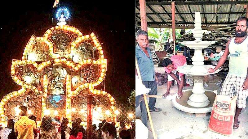 The Pandal drew large crowds to the site. {right} Pradeep Kumara (far right) and his friend W. Siripala (far left) making the cement based oil lamp for the opening of Vesak pandal