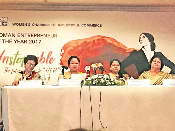 The head table at the launch of 'The Woman Entrepreneur of Year 2017'. From left: Board Member Mrs Renuka Fernando, Chairperson Mrs Chathuri Ranasinghe, First Vice Chairperson Mrs Indrani Fernando and  second Vice Chairperson  Mrs Kumari Perera.