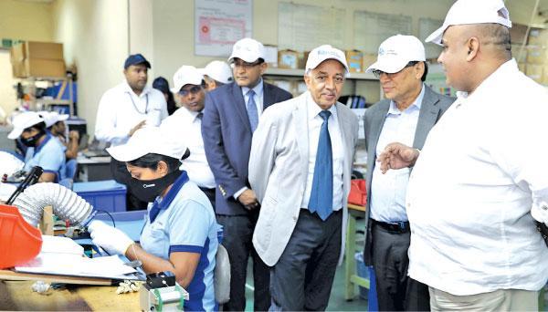 Minister Malik Samarawickrama at the Lanka Harness factory
