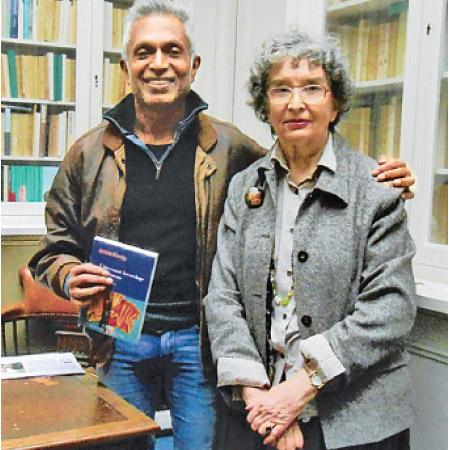 Ashok Ferrey (left) at the publishers' with Editor Marie-Pierre Bey