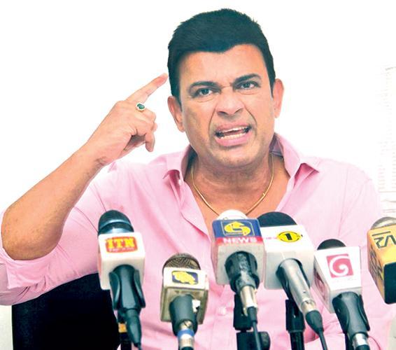 Ranjan Ramanayake grimaces at a Press conference questioning the upcoming cricket election  Pic:Saliya Rupasinghe
