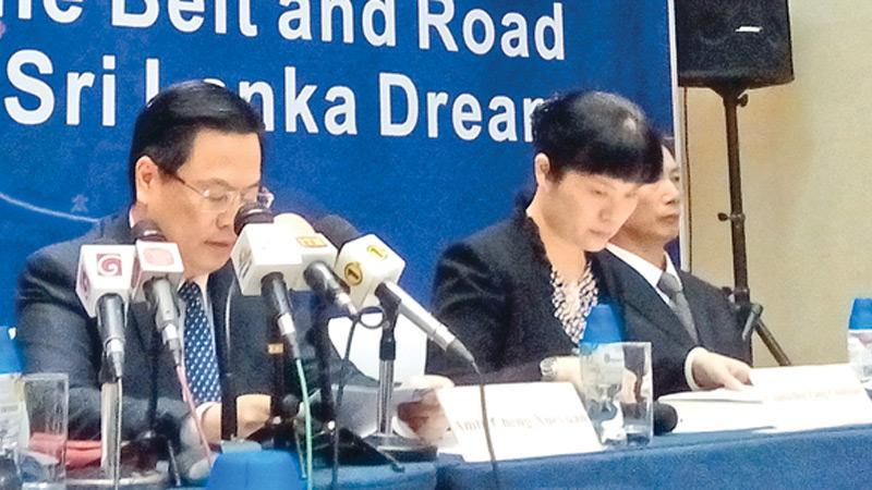 Chinese Ambassador Cheng Xueyuan speaks at the symposium Pic : Chandani Jayatilleke