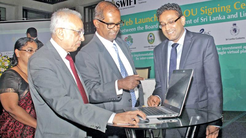 Development Strategies and International Trade Minister Malik Samarawickrama, BOI Chairman Dumindra Ratnayake and DG, BOI Duminda Ariyasinghe launch the Single Window Investment Facilitation Taskforce (SWIFT).